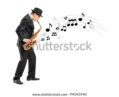 Full length portrait of a man playing on saxophone and notes coming out isolated against background - stock photo