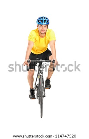 Full length portrait of a man with helmet riding a bycicle isolated against white background