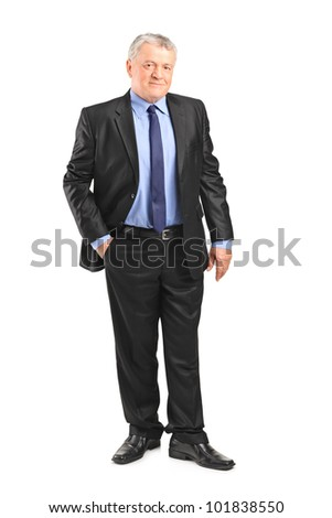 Full length portrait of a mature businessman posing isolated on white background