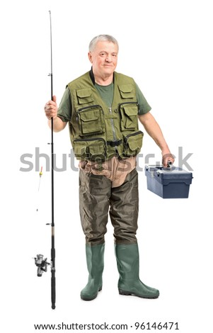 Full length portrait of a mature fisherman holding a fishing equipment isolated on white background