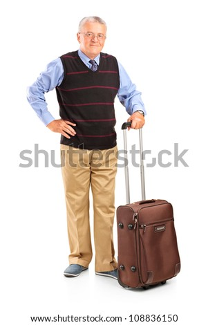 Full length portrait of a mature man holding a suitcase, isolated on white background