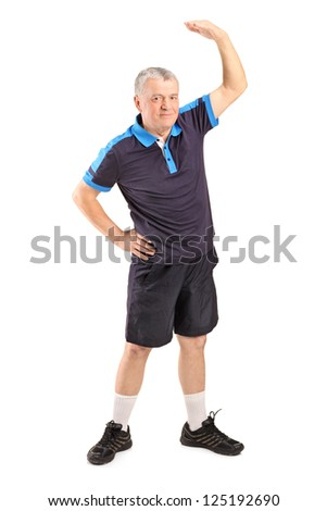 Full length portrait of a  middle age man exercising isolated on white background - stock photo