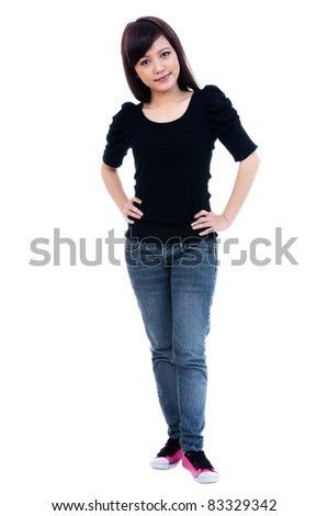 Full length portrait of a pretty young woman posing, isolated white background. - stock photo