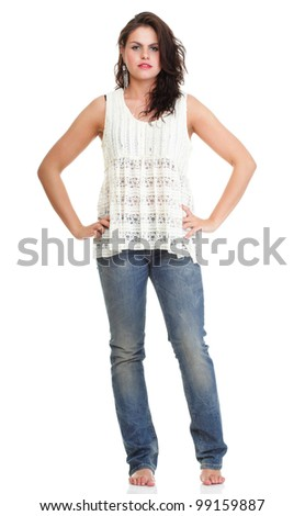 Full length portrait of a pretty young woman posing over white background