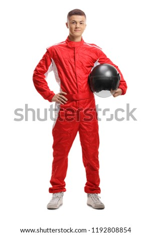 Full length portrait of a racer with a helmet isolated on white background