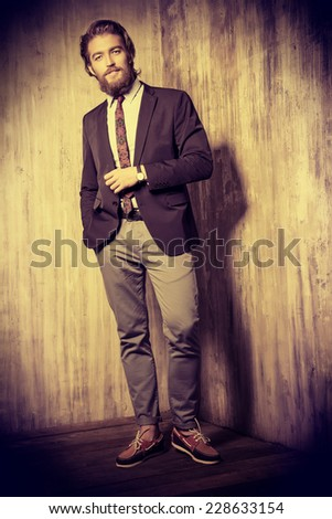 Full length portrait of a respectable handsome man in a suit. Men\'s fashion.