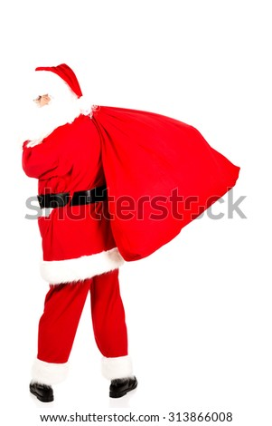Full length portrait of a Santa Claus with a bag full of gifts #313866008