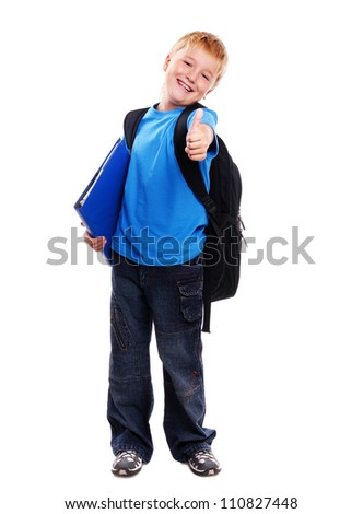 Full length portrait of a schoolboy isolated on white background showing thumbs up