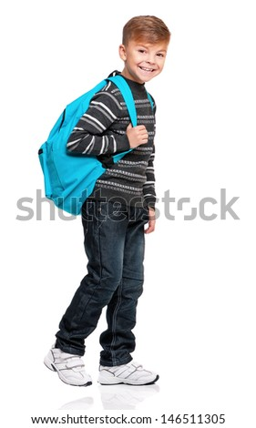 Full length portrait of a schoolboy with backpack, isolated on white background