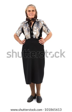 Full length portrait of a senior woman isolated on white background