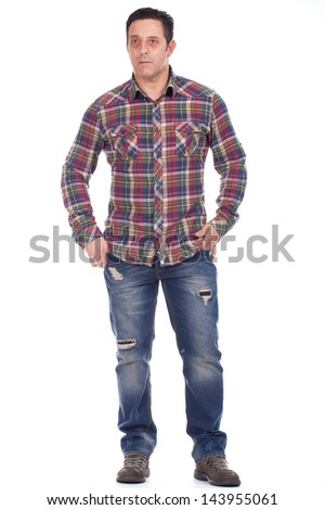 Full length portrait of a smart mature man