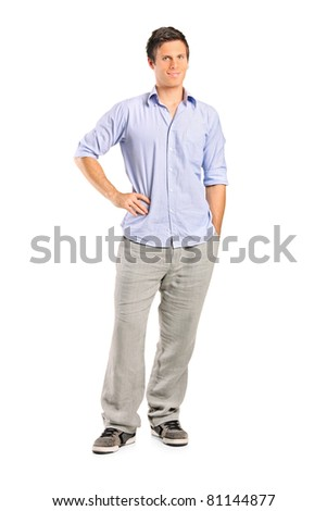 Full length portrait of a smiling casual man looking at camera with confidence, isolated on white background