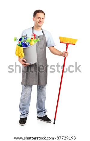 Full length portrait of a smiling cleaner isolated on white background