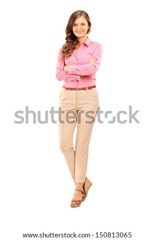 Full length portrait of a smiling female posing and looking at camera isolated on white background - stock photo