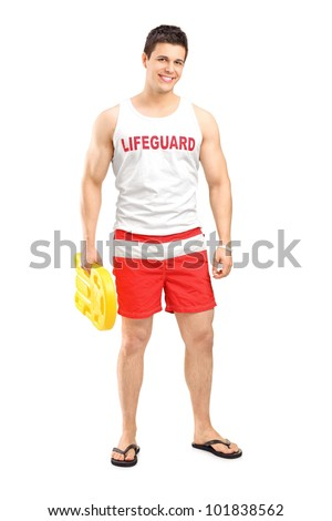 Full length portrait of a smiling lifeguard on duty posing isolated on white background