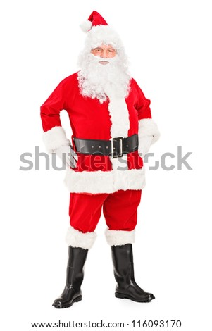 Full length portrait of a smiling Santa Claus posing isolated against white background