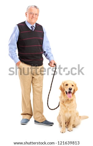 Full length portrait of a smiling senior man posing with his pet isolated on white background