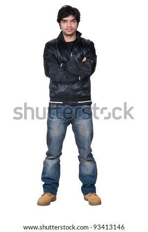 full length portrait of a stylish young Indian man