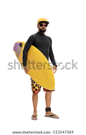 Full length portrait of a surfer in a wetsuit holding a surfboard isolated on white background