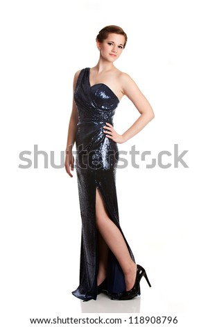 Full length portrait of a teen in an evening gown ready for prom