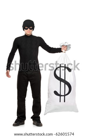 Full length portrait of a thief holding a bag with US sign isolated against white background