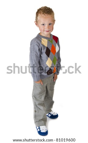 Full length portrait of a three years old boy - isolated over white