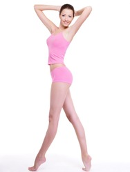 Full-length portrait of a woman with perfect slim beautiful  body