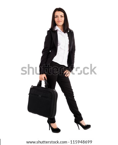 Full length portrait of a young businesswoman holding bag isolated on white background