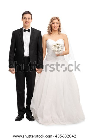 Full Length Portrait Of A Young Newlywed Couple Posing Isolated On White Background 435682042