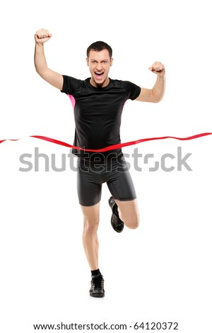 Full length portrait of a young runner at the finish line isolated on white background