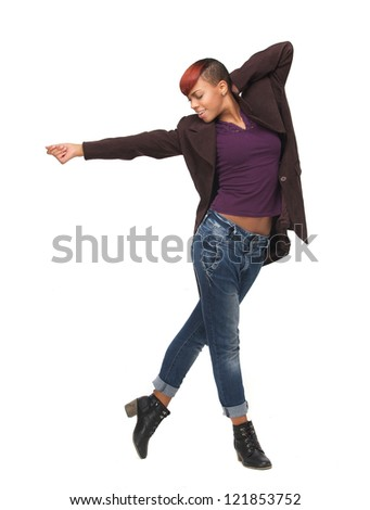 Full length portrait of an African American young woman dancing. Isolated on white background