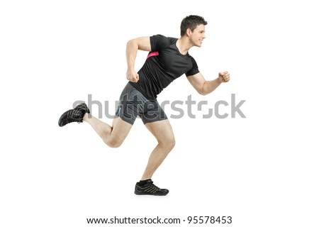Full length portrait of an athlete running isolated on white background