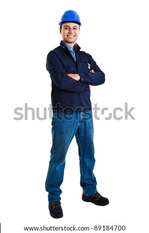 Full-length portrait of an handsome worker