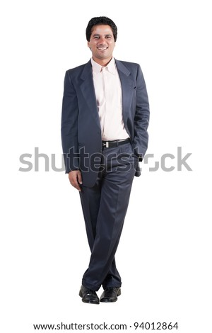 full length portrait of an Indian businessman, biracial businessman isolated on white