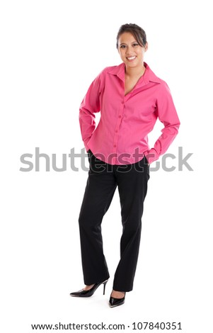 Full length portrait of attractive late 30s smart casual Asian woman portrait isolated on white