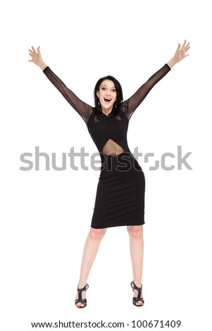 full length portrait of attractive smile excited woman holding arms hands up, isolated over white background concept of happy, pretty winning success girl