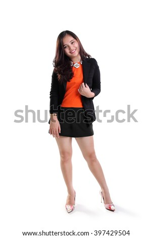 f4d891440d Full length portrait of attractive young Asian business woman standing and  relaxing