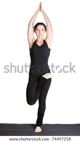fulllength portrait of beautiful woman working out yoga