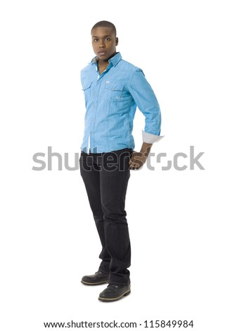 Full length portrait of black young guy against white background