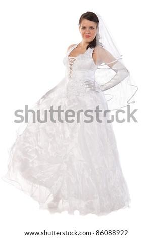 Full-length portrait of bride dressed in elegance white wedding dress, isolated on white