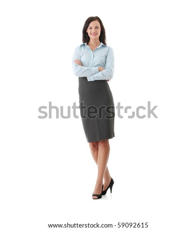 Full length portrait of business woman, isolated