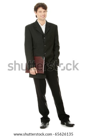 Full length portrait of businessman, isolated
