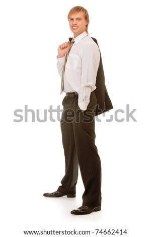 full-length portrait of businessman, isolated on white background.