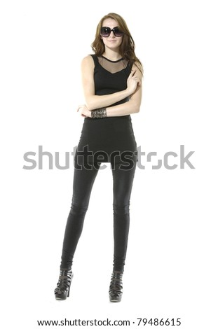 full-length portrait of casual fashion woman wearing stylish sunglasses posing