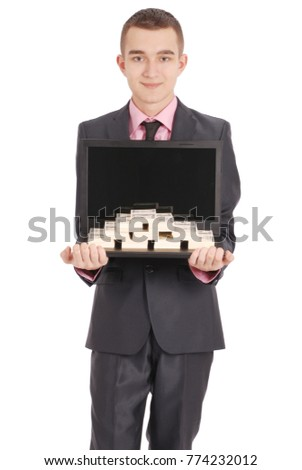 Full length portrait of confident young businessman which keeps the laptop and money in formals standing isolated over white background #774232012