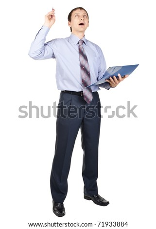Full length portrait of excited businessman with finger pointing up, isolated on white