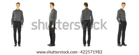 Full length portrait of handsome boy in pants isolated #422571982