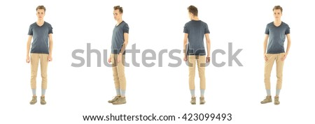 Full length portrait of handsome boy in pants isolated #423099493