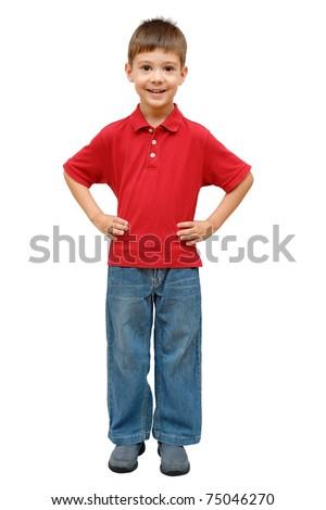 Full-length portrait of happy child isolated on white background