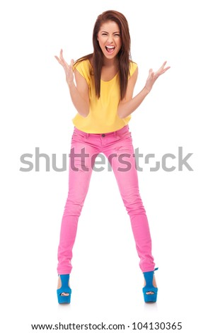 Full length portrait of happy excited girl . Over white background - stock photo